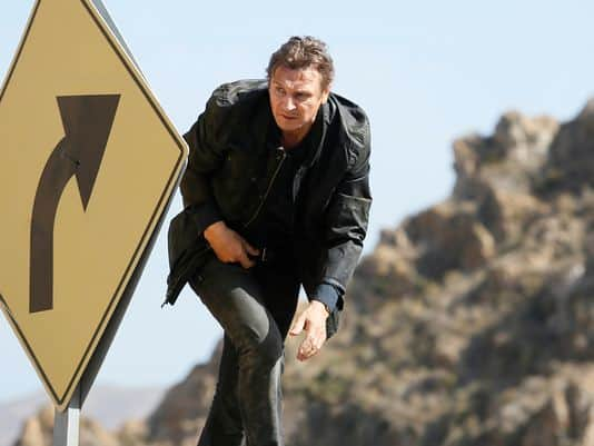 Liam Neeson in Taken on a mission to save his daughter