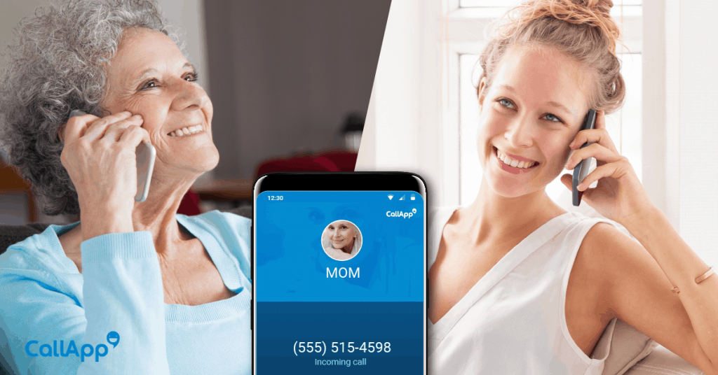 A mother and daughter connecting over the phone.