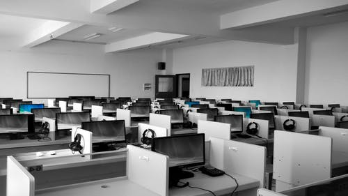 An empty call center for telemarketing
