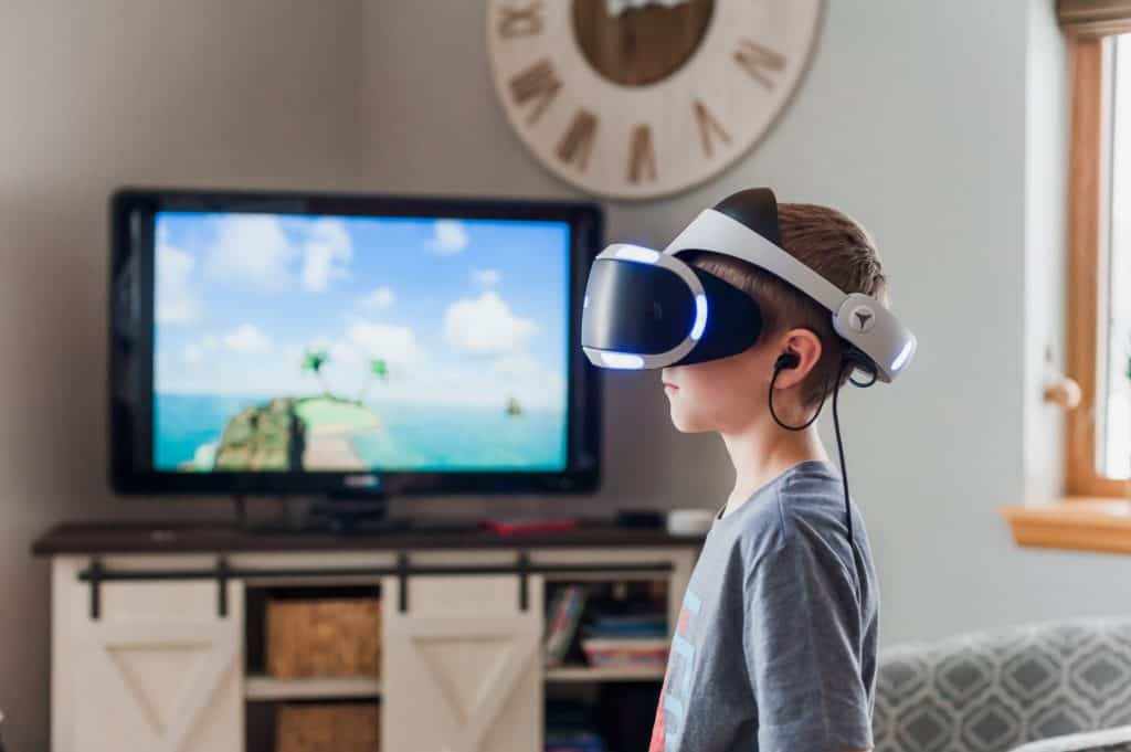 A child using a virtual reality system