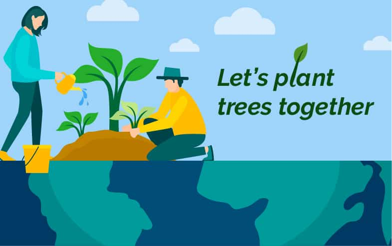 CallApp planting trees in honor of earth day