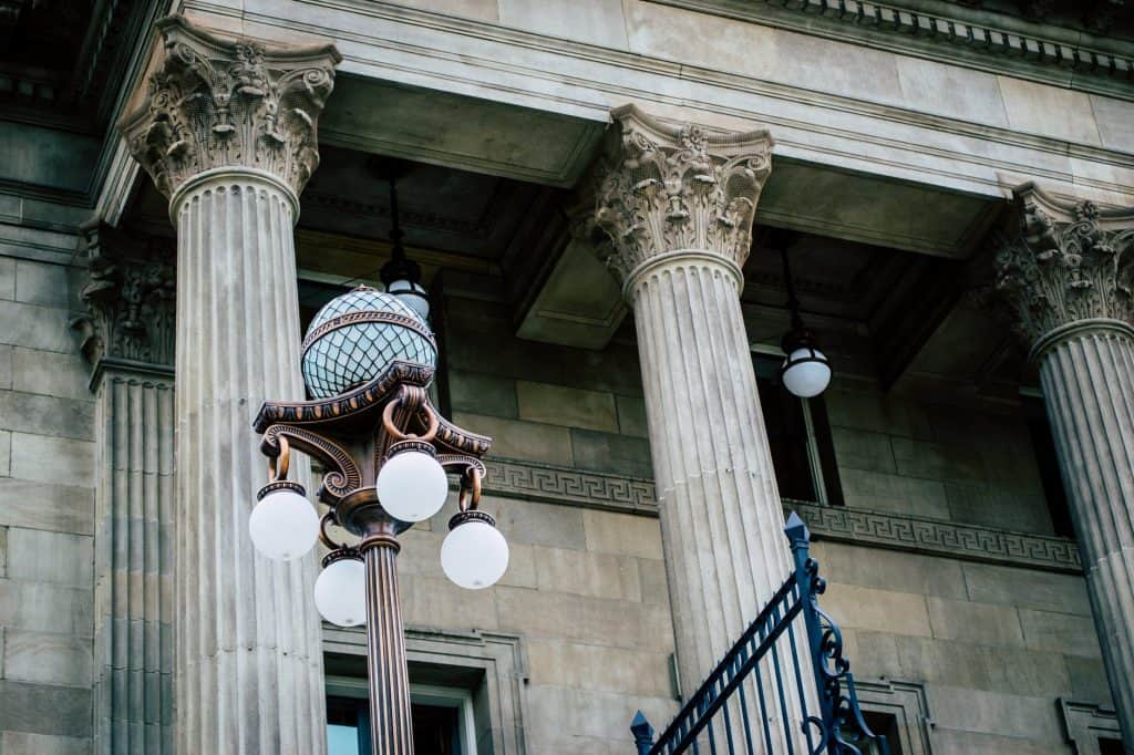 A close up of a court house