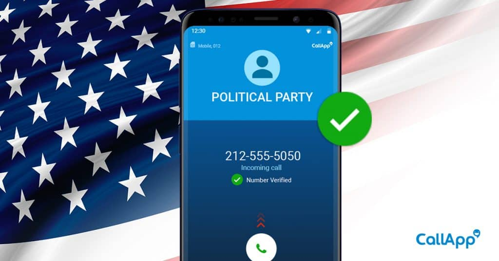 A phone screen ringing with a political party calling