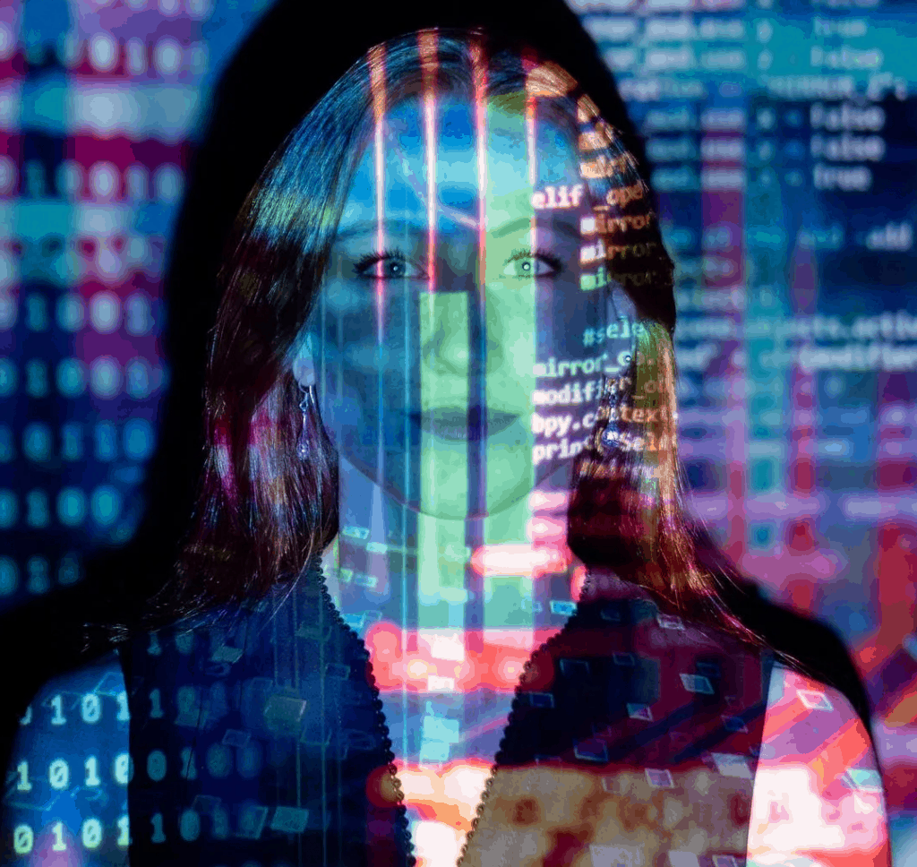 A woman with data projecting on her face