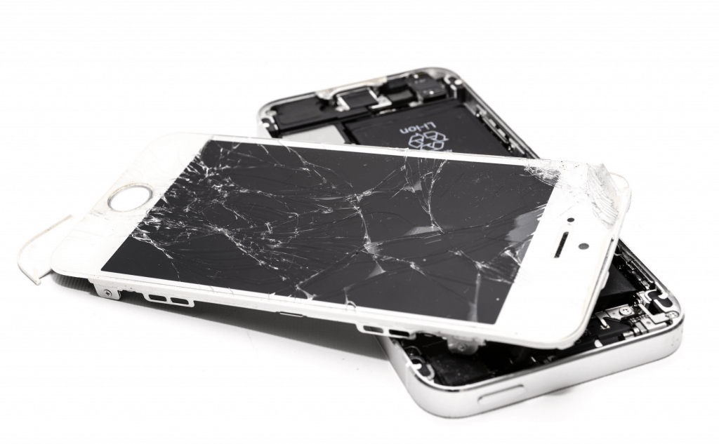 A broken iPhone with a smashed screen