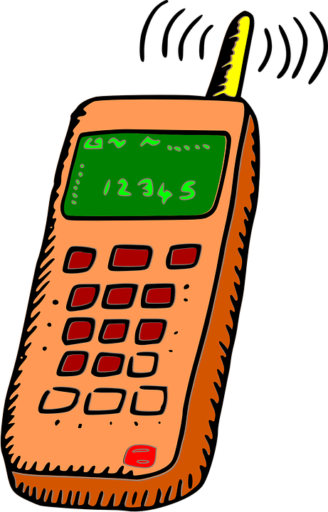 An illustrated image of a cell phone ringing