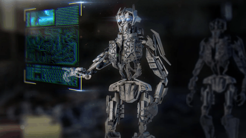 A robot in front of an AI machine