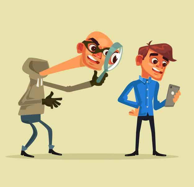 An illustrated depiction of a thief stealing a man's identify