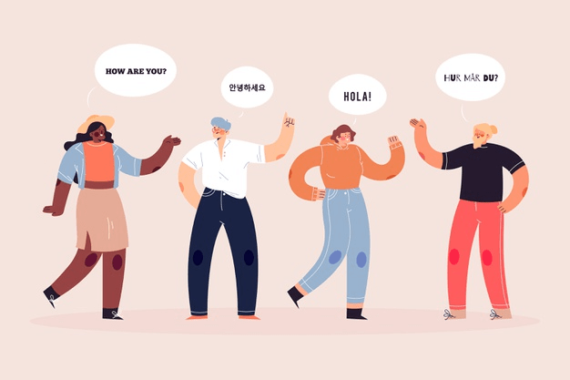 Illustrated characters communicating with one another in a variety of languages
