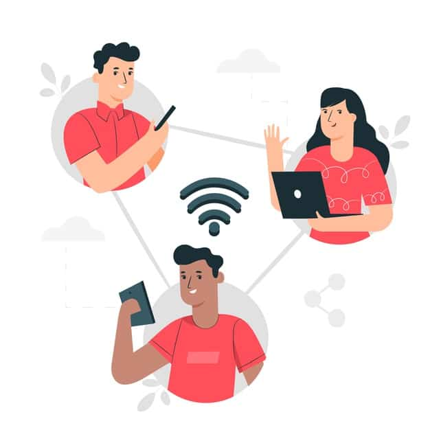 An illustrated image of three people communicating together